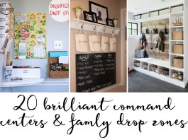 20 Brilliant Command Centers and Family Drop Zones. Get yourself organized this year and make mornings easier with these creative family spaces. They're perfect set ups for mudrooms. Get organized for back to school. Round-Up from Mom Envy. #organization #organizationideas #mudroom #commandcenter
