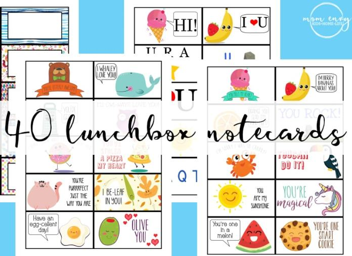 Free Lunchbox Notes - 40 Free Printable Lunch Note cards. Bring a little magic to your child's lunches this year with a surprise lunchbox note. Have no time? No worries - there are 30 predesigned cards and 10 blank cards. 10 of the cards are for your littlest school-goers. From http://momenvy.co/2017/08/free-lunchbox-notes.html