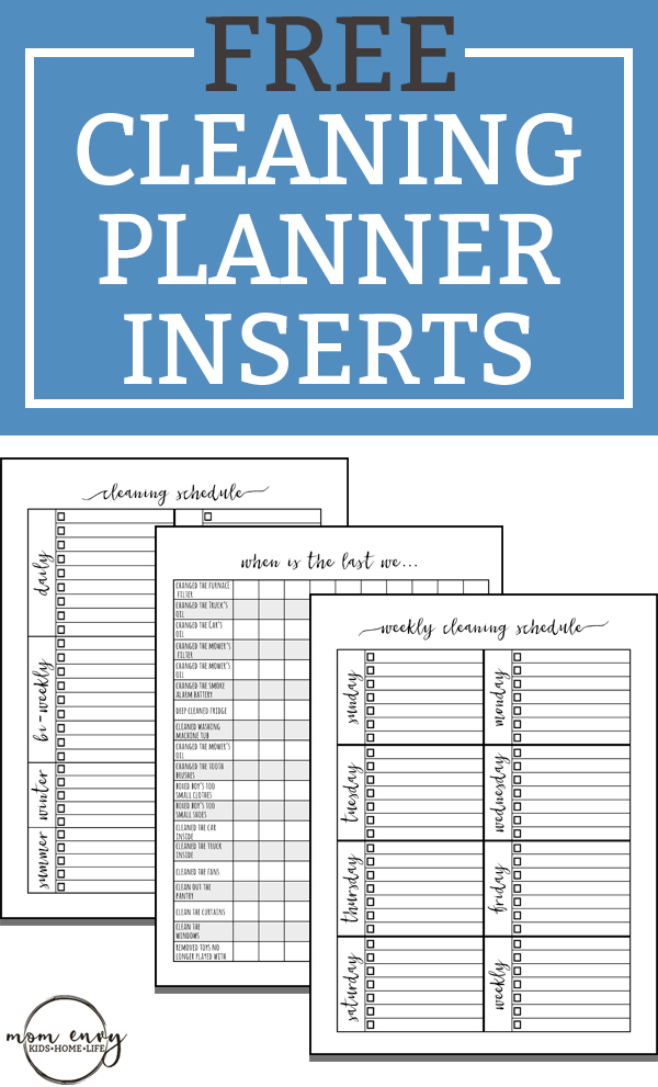 free cleaning planner inserts family binder inserts 3 different