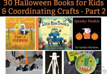30 Halloween books for kids and coordinating crafts. Part 2 of 30 great books for kids for Halloween and crafts for kids. Fun Halloween activities for kids. Kid-Friendly Halloween stories that aren't spooky. Halloween Crafts for kids. Halloween kids crafts for kids. Halloween kid's books.