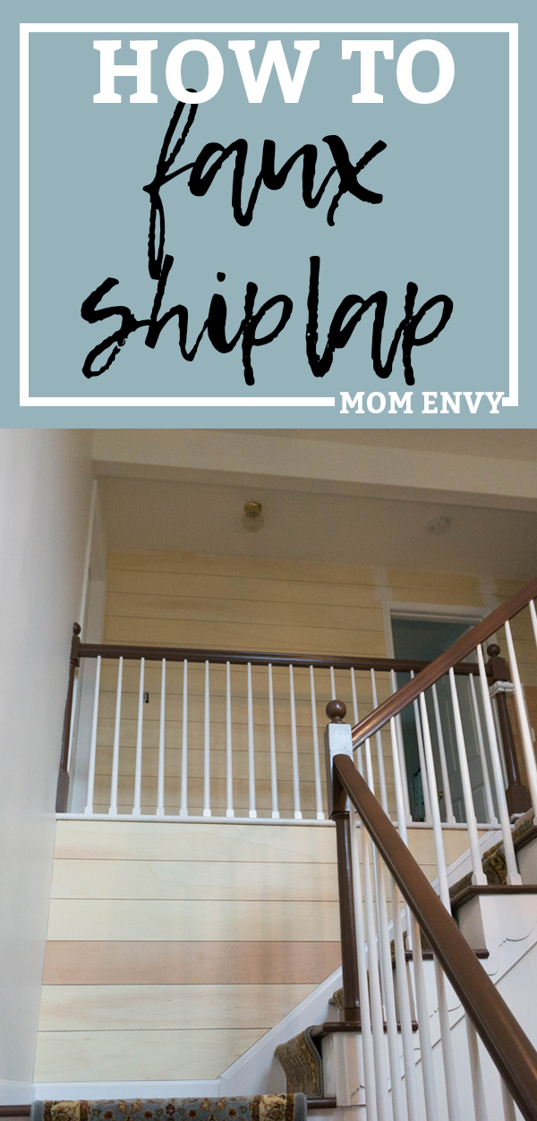 How to faux shiplap. Learn how to faux shiplap an entry. See how a 1980's entry gets farmhouse style. #farmhouse #shiplap #DIY
