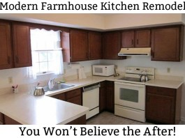 Modern Farmhouse Kitchen Remodel. White Kitchen remodel. Easy kitchen remodel. DIY kitchen remodel with before and after pictures. Including kitchen remodel with painted kitchen cabinets. White kitchen remodel. Kitchen remodel on a budget. Traditional kitchen remodel.