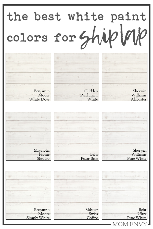 The best white paint colors for shiplap. The perfect farmhouse white paint colors. #shiplap #DIY