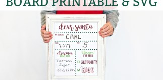 FREE Christmas Stats and Wishlist Printable and SVG file. Download these free Christmas printable for kids to start a new Christmas tradition with your kids. OR Download the free SVG file to create your own chalkboard or whiteboard. Free Christmas Silhouette file included as well. #freechristmasprintable #freesilhouttefile #christmas #christmastraditions #christmasprintables