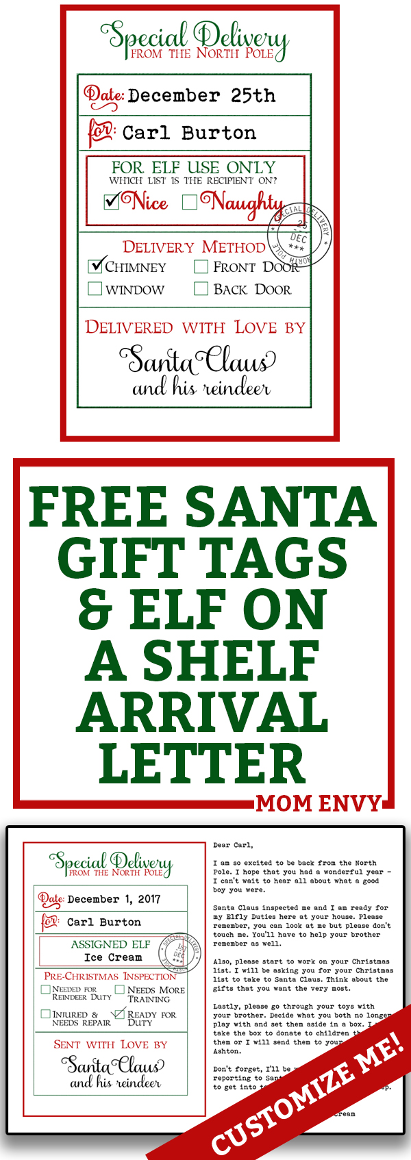 Free custom santa gift tags and elf arrival letter 3 free printables free custom santa gift tags and elf on a shelf arrival letter free printable christmas spiritdancerdesigns Image collections