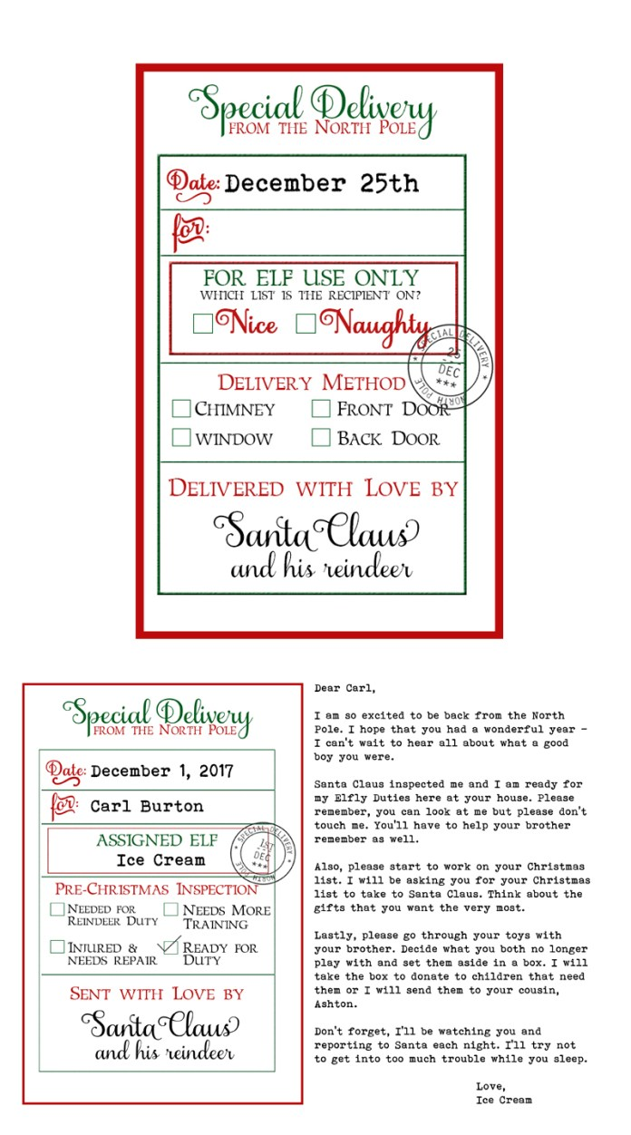 free custom santa gift tags and elf on a shelf arrival letter free printable christmas