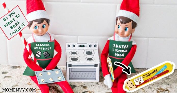 Free Elf on a Shelf Christmas Baking Printable. Free Christmas Cookies printable for The Elf on a Shelf. Print a 3-D oven for your elf, cookie dough, a cookie tray, and free printable Elf-on-a-shelf aprons! #elfonashelf #freeprintables #christmas #freechristmasprintables