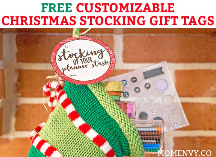 Free Stocking GIft Tags. 10 premade stocking gift tags in two different designs. Plus, blank tags you can customize! Easy Christmas gift for teachers, neighbhors, friends, and family. #teachergift #christmas #freechristmasprintable #freeprintables