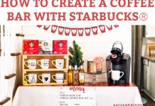 #ad How to Create a Coffee Bar with Starbucks®. Learn some tips and tricks for setting up a holiday coffee bar. Learn how to make a festive party space this Christmas. Free printables included - holiday coffee banner, free coffee gift tag, free Christmas coffee planner stickers, and more. #SavorHolidayFlavors #starbucks #freebies #christmas #coffeebar #plannerstickers