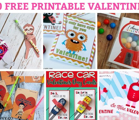 Free Printable Valentines. 50 Free Valentine printables for kids. Let your kids give our a unique Valentine this year. #Valentinesday #freeprintablevalentines #valentines #freeprintablesforkids