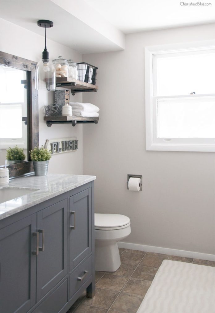Diy Bathroom Remodel From Pink To Farmhouse One Room