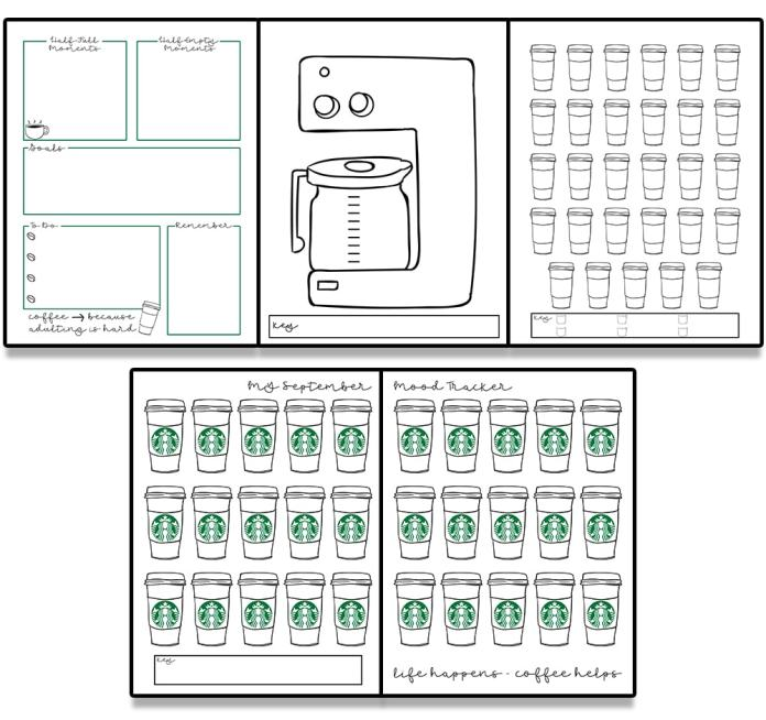 Free coffee bullet journal printables. Download these free fall planner printables. Are you coffee obsessed? Grab these free coffee planner inserts today. #coffeeaddict #Plannerlover #bujo