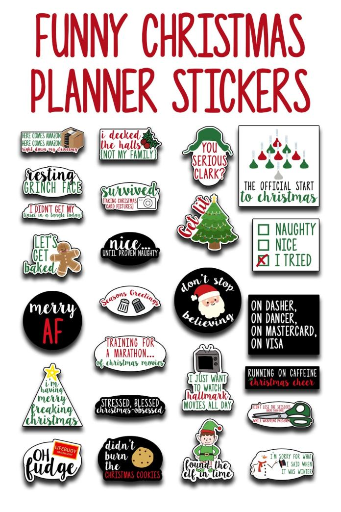 """Christmas Planner Printable - Download this set of funny """"adulting"""" planner stickers today! You get an entire letter size sheet of printable Christmas stickers. Perfect for The Happy Planner, Erin Condren, Recollections, and more. #planneraddict #plannerlover #christmasplanner"""