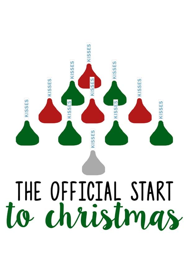 Free Hershey Kiss Christmas Commercial SVG and Print! Silhouette Christmas file included, too! This adorable free Christmas SVG would make a DIY Christmas gift (Christmas mug, shirt, etc). And the free Christmas print would like great framed and hung for the holidays. #silhouette #christmasDIY #freesvg