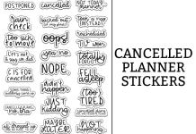 Cancelled Stickers. Download this free set of cancelled stickers perfect for cancelled plans in your planner. Available in standard size, mini and also with the spellings of Cancelled and Canceled. #plannerfreebies #planneraddict
