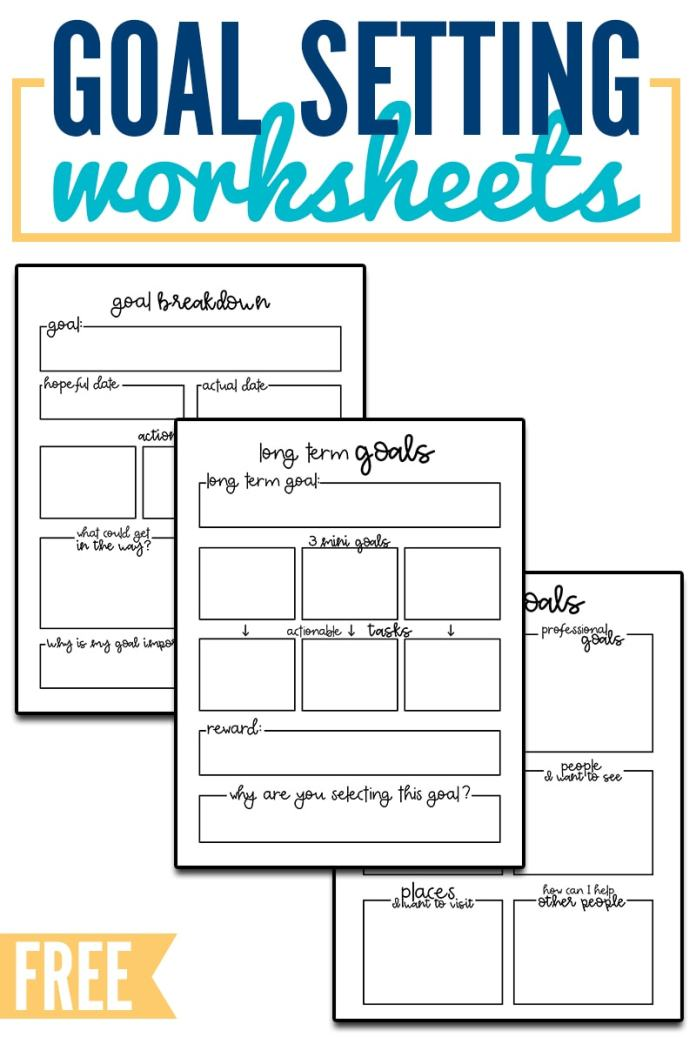 Goal Setting Worksheets. Download 3 goal setting worksheets to start your year off successfully. Break a goal down into smaller, more manageable steps. These free planner printables can fit can size planner. #organization #planner #happyplanner
