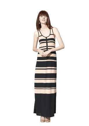 Mossimo Women's Stipe Maxi Dress - Black/Blush $29.99