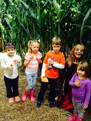 Inside the Corn Maze. Who brought the creepy kid?