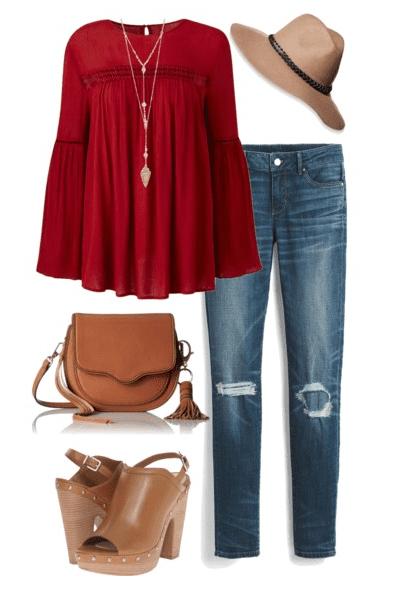 Fall outfit idea - Distressed denim, red boho style shirt, wool hat, platform sandals and saddlebag handbag.