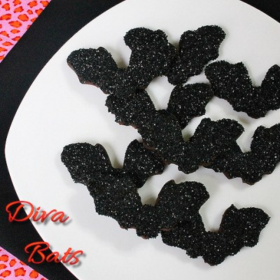 black sparkle bat cookies