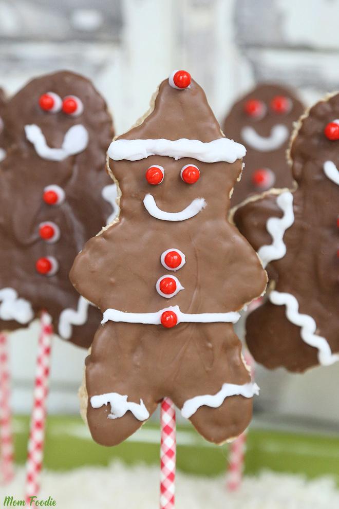 Christmas Rice Krispies Treats - Gingerbread Boy Pops