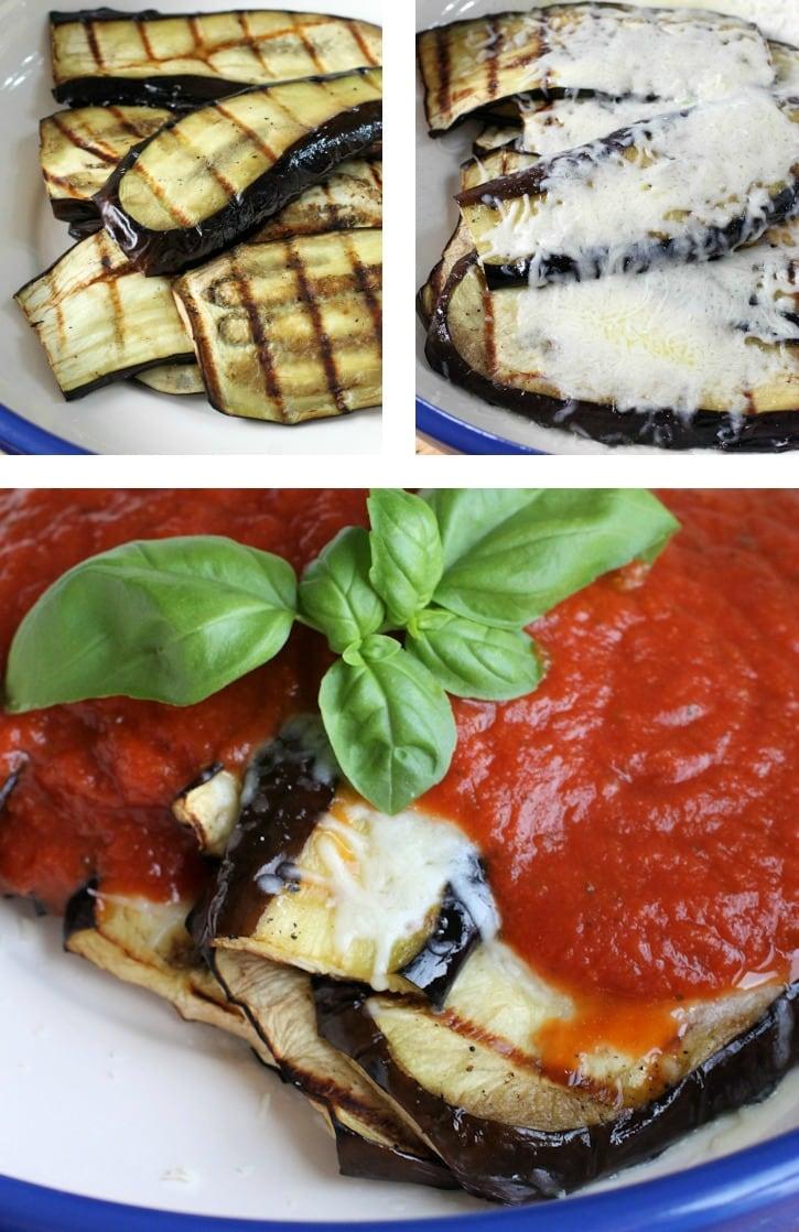 making Grilled Eggplant Parmesan