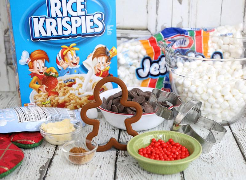 Making Christmas Rice Krispies Treats Gingerbread Boys