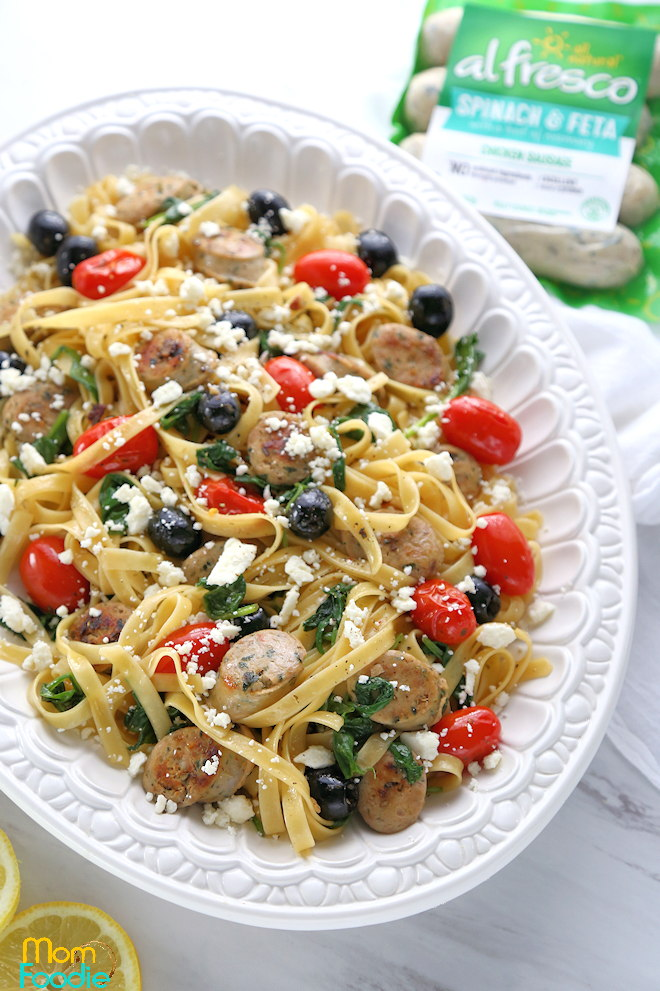 Spinach Feta Chicken Sausage Pasta