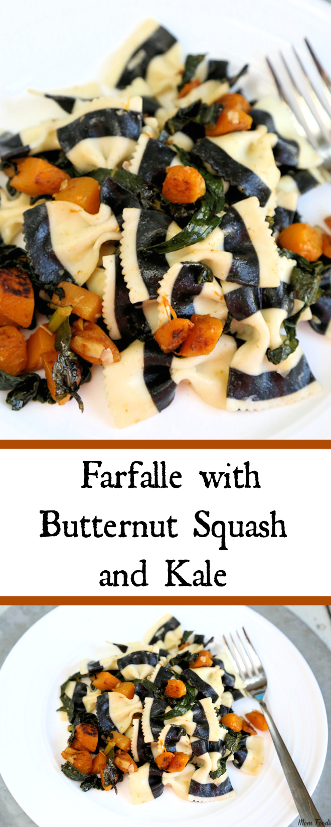 Black & White Striped Farfalle with Butternut Squash and Kale : Vegetarian Halloween Dinner Recipe
