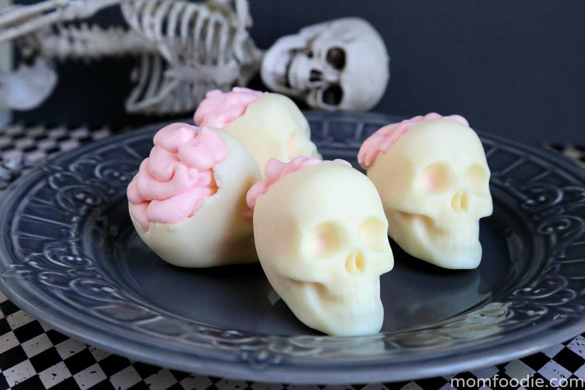 chocolate skulls with brains of pink mousse filling