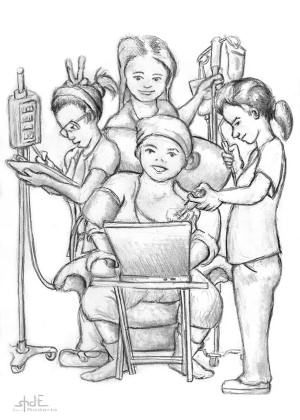 My Chemo Nurses as sketched by my talented husband, Shane.