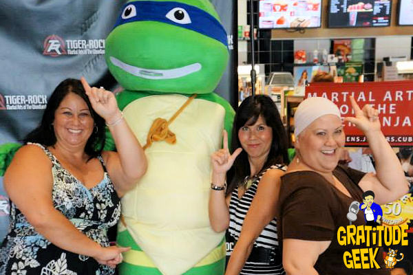 My sisters and I strike a Charlie's Angel pose with Leonardo