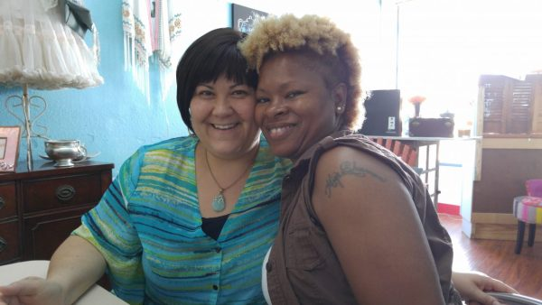 Kandas Rodarte and Martica Sherman at Conroe Coffee