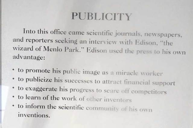 Publicity Tips by Thomas Edison. Photo by Kandas Rodarte.