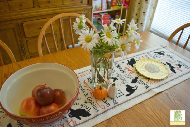farmhouse style table decorated for Halloween