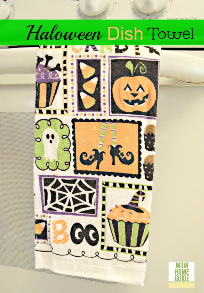 Colorful Halloween dish towel