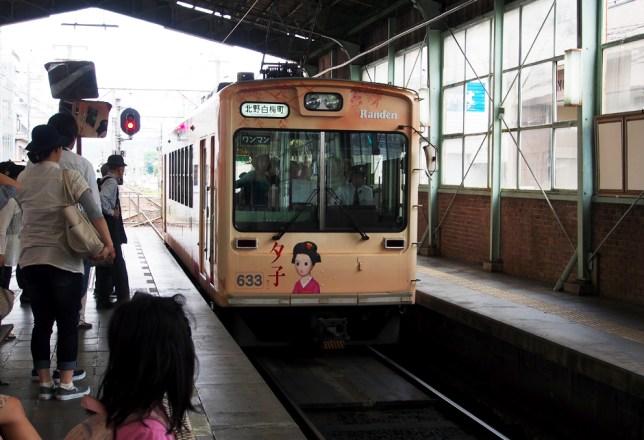 The cute Randen train going to Arashiyama