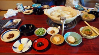 A meal featuring different soy products