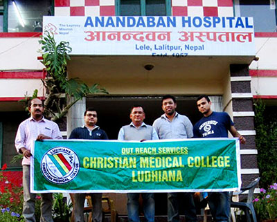 Left to right:  Dr. Sajan K Sebastian,  Dr. Abhishek Samuvel, Director, Anandaban Hospital, Lalitpur, Nepal, Dr. Ashwin Sakharia and Dr Ajay Alex