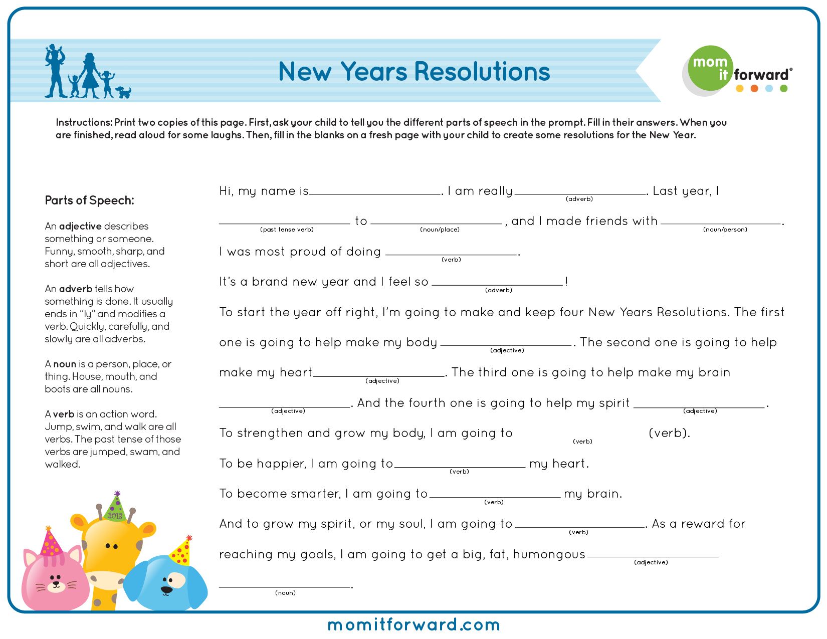 New Years Resolutions Mad Lib Printable