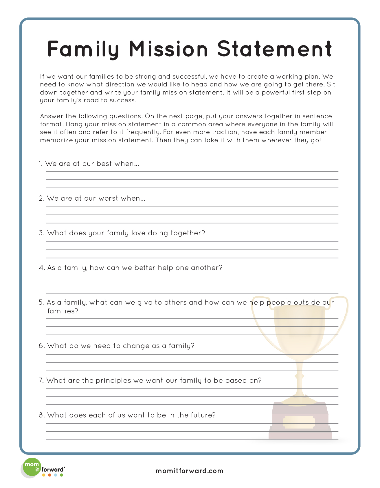 Family Roles Addiction Worksheets