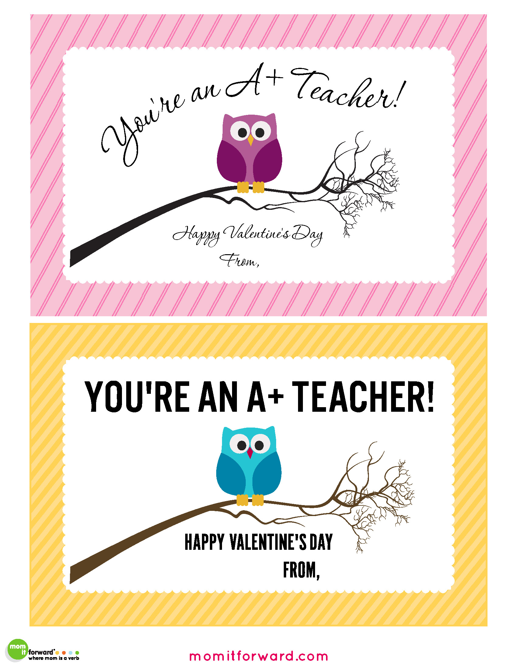 Teacher Valentines Day Cards Printable Mom It Forwardmom It Forward