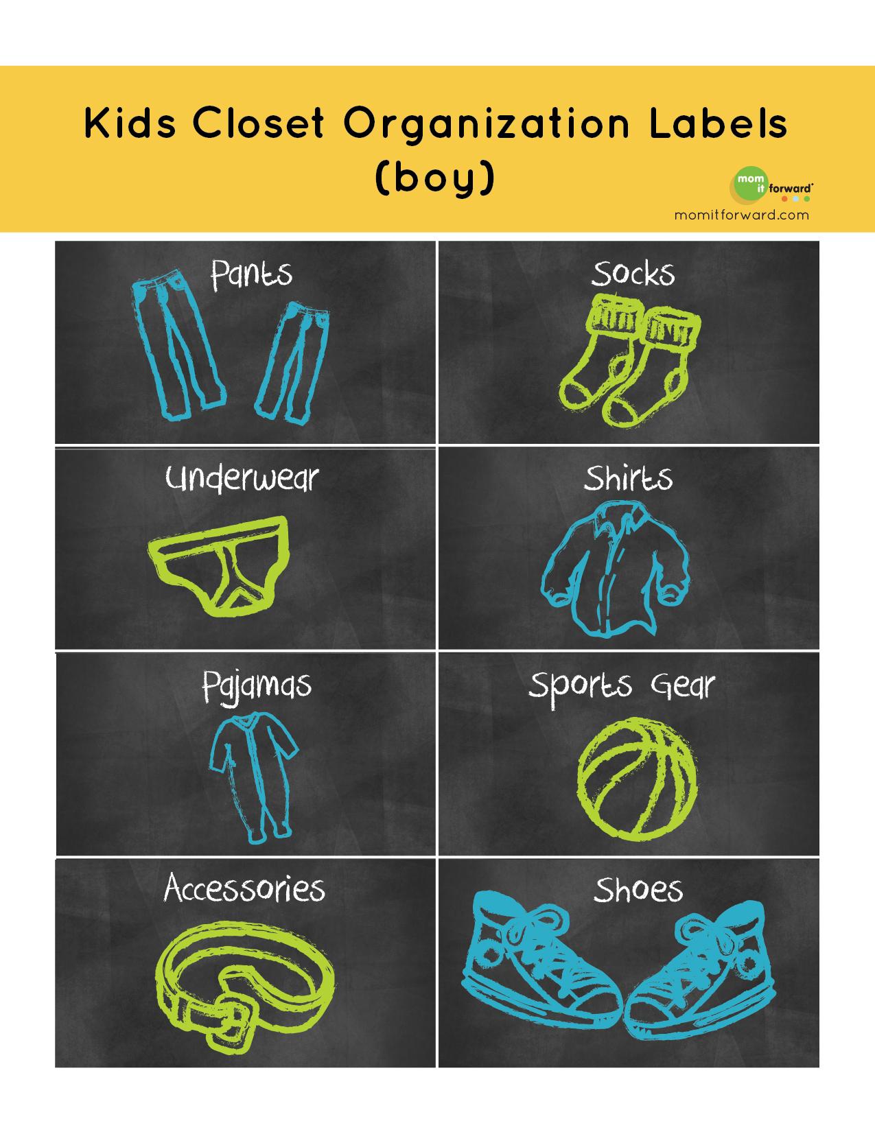 Kids Closet Organization Label Printable
