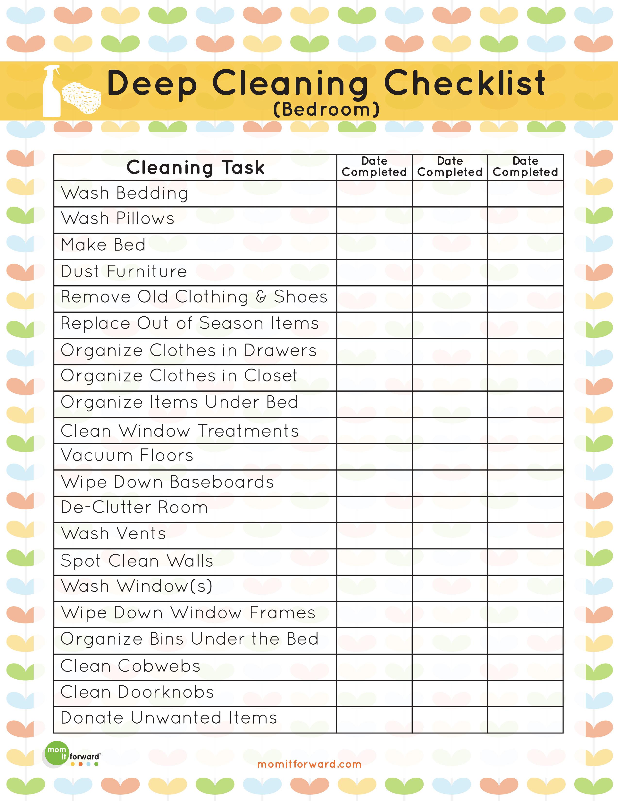 Printable Deep Cleaning Bedroom Checklist