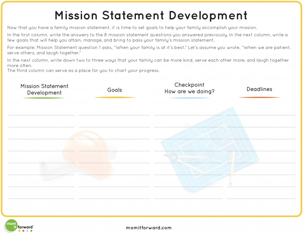 Printable Developing Your Family Mission Statement