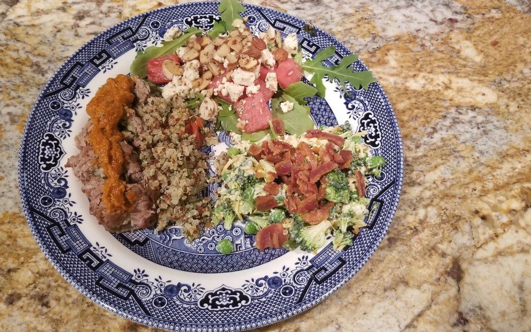 Pork Pinwheels with Quinoa and Arugula and Watermelon Salad
