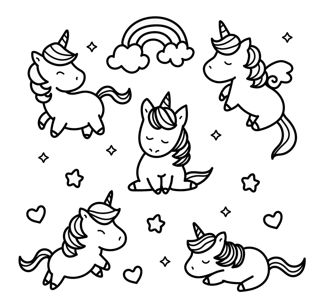 lots of unicorns coloring page cute