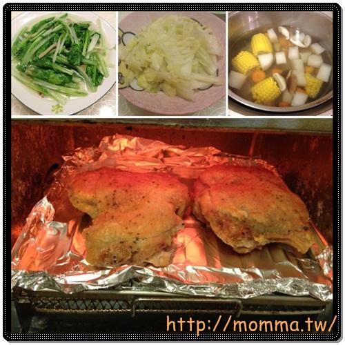 [P家廚房]香煎雞腿排+炒高麗菜+炒小白菜+蔬菜湯 1
