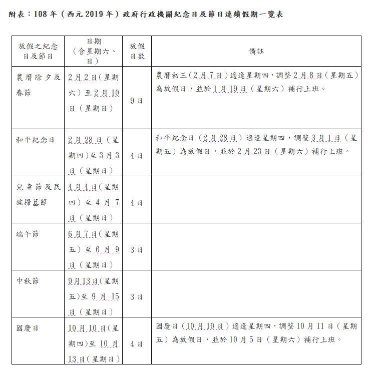 2019行事曆-人事行政局107年行事曆excel表格下載