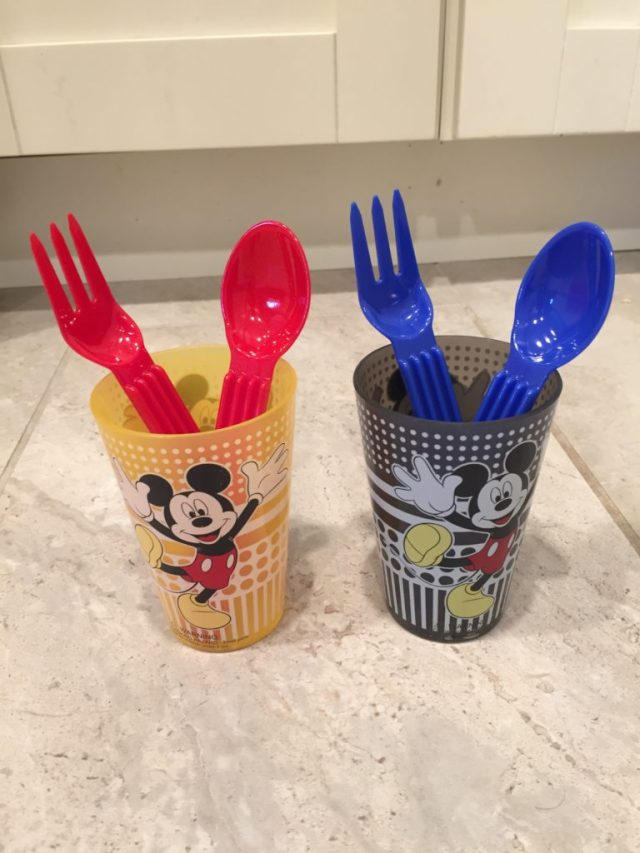 Mickey cups with utensils